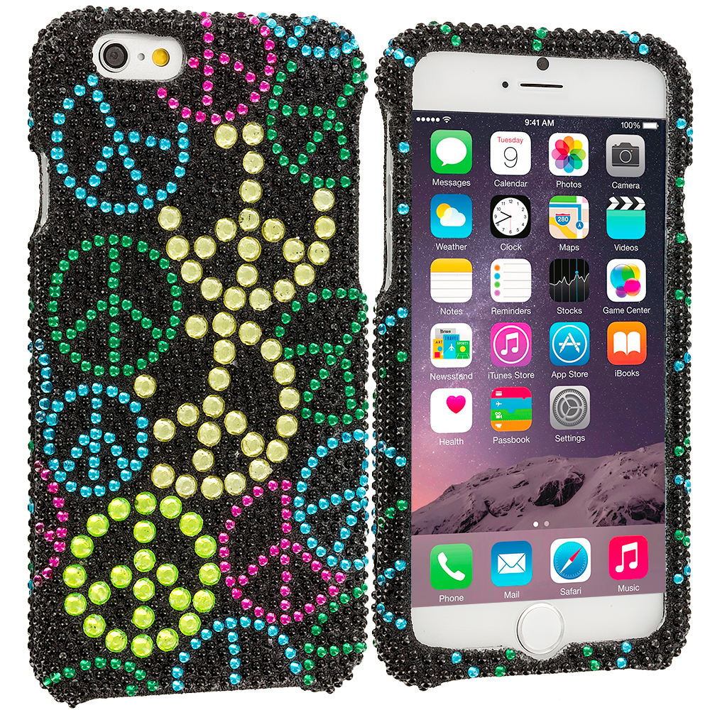 Apple iPhone 6 6S (4.7) Peace Sign Bling Rhinestone Case Cover