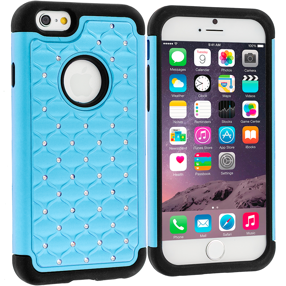 Apple iPhone 6 Plus 6S Plus (5.5) 5 in 1 Combo Bundle Pack - Hard Rubberized Diamond Case Cover : Color Baby Blue