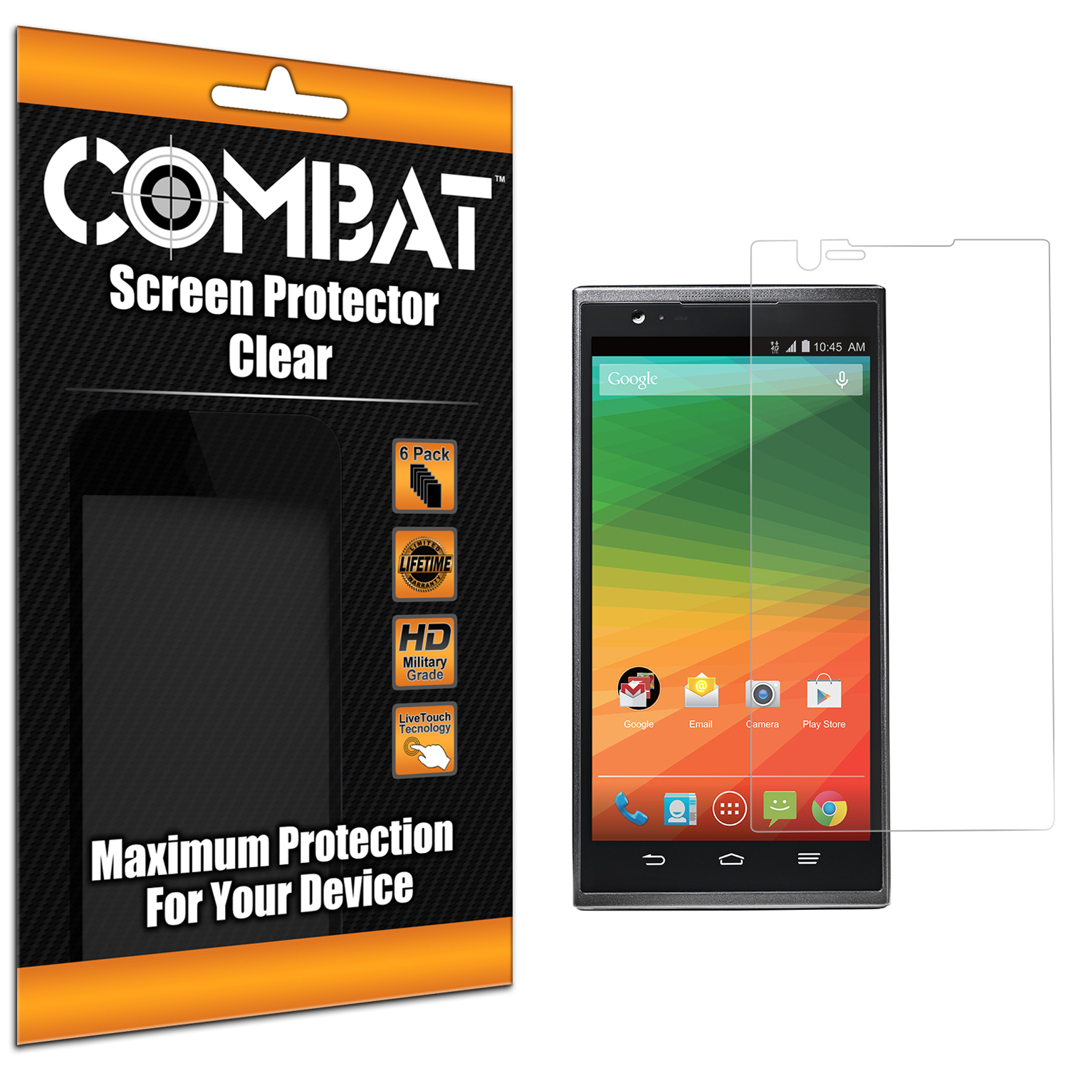 ZTE Zmax Combat 6 Pack HD Clear Screen Protector