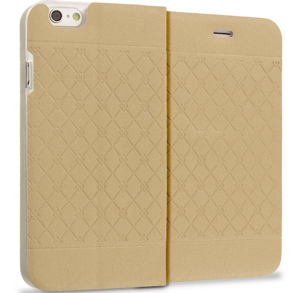 Apple iPhone 6 Plus 6S Plus (5.5) Gold Slim Wallet Plaid Luxury Design Flip Case Cover