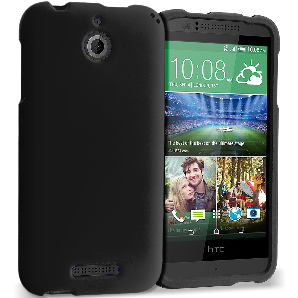 HTC Desire 510 Black Hard Rubberized Case Cover