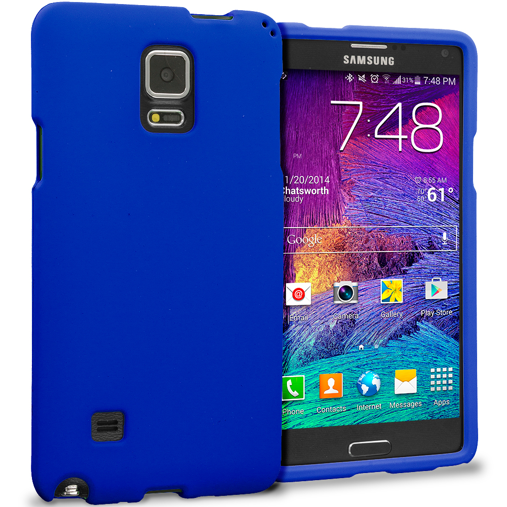 Samsung Galaxy Note 4 Blue Hard Rubberized Case Cover