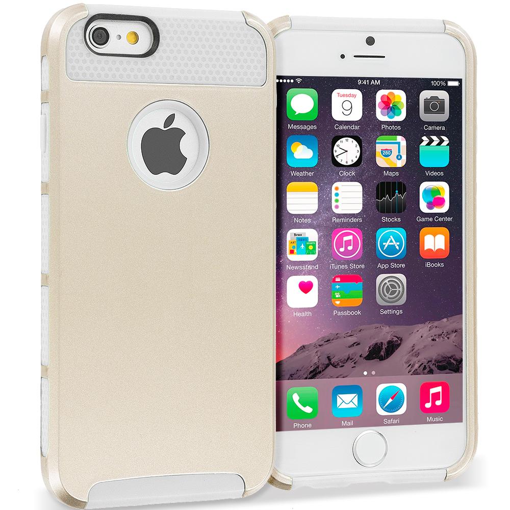 Apple iPhone 6 6S (4.7) Gold / White Hybrid Hard TPU Honeycomb Rugged Case Cover