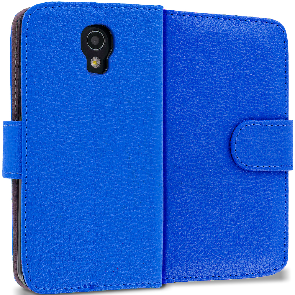 LG Volt LS740 Blue Leather Wallet Pouch Case Cover with Slots