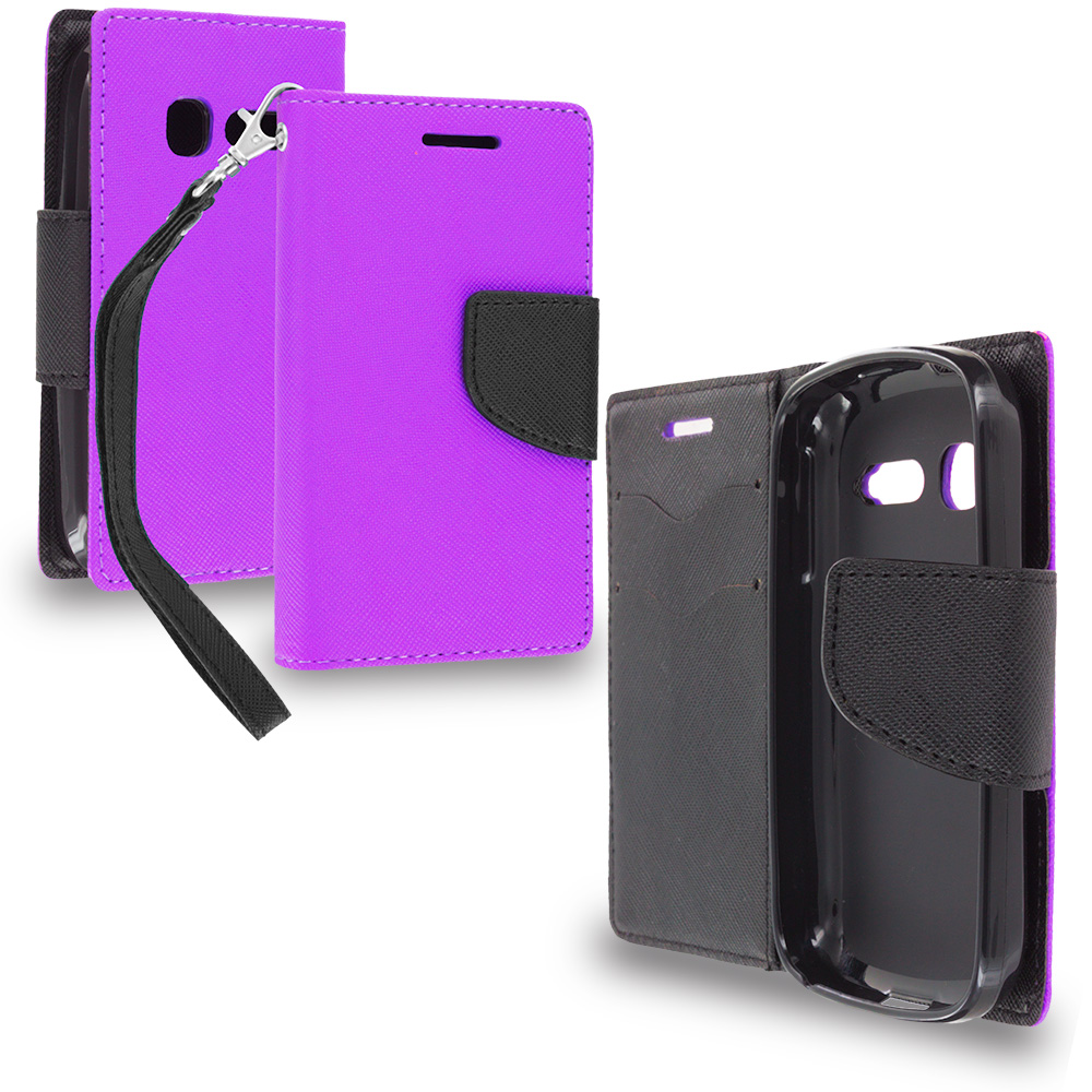 Alcatel One Touch Pop C1 Purple / Black Leather Flip Wallet Pouch TPU Case Cover with ID Card Slots