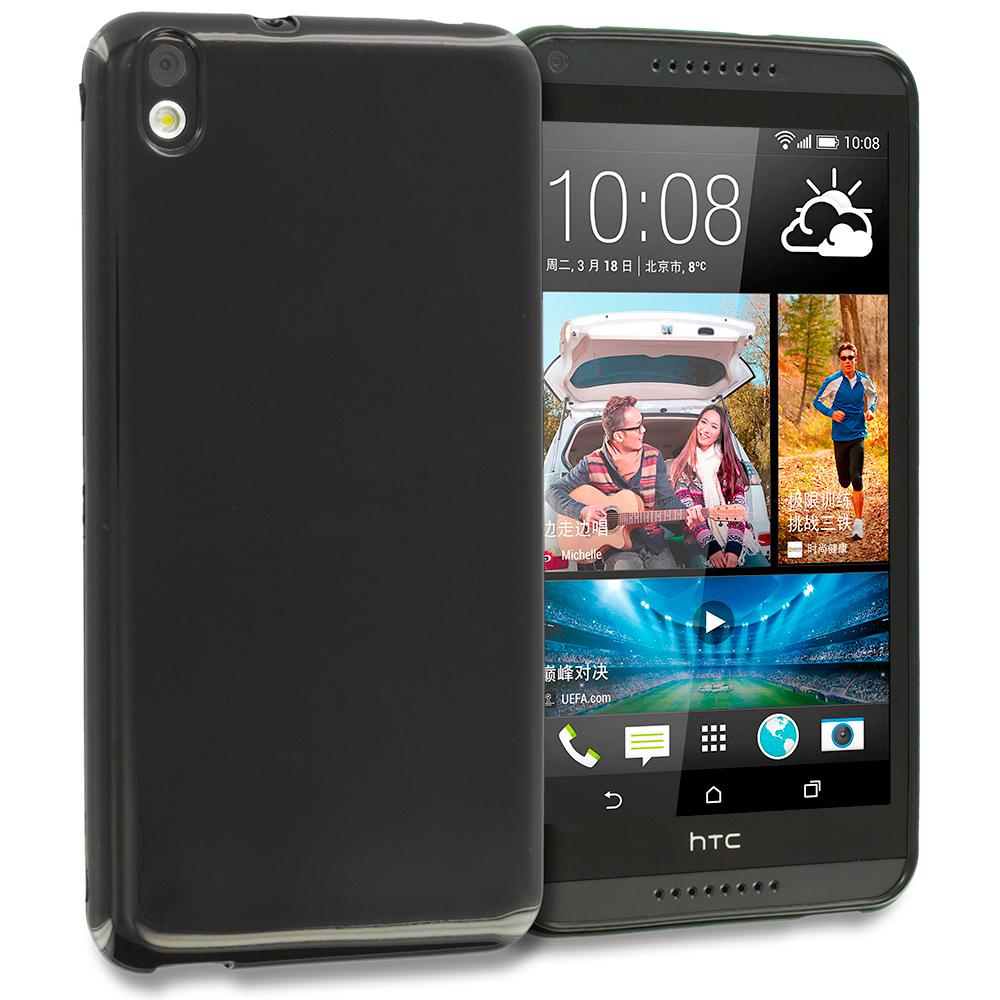 HTC Desire 816 Black TPU Rubber Skin Case Cover