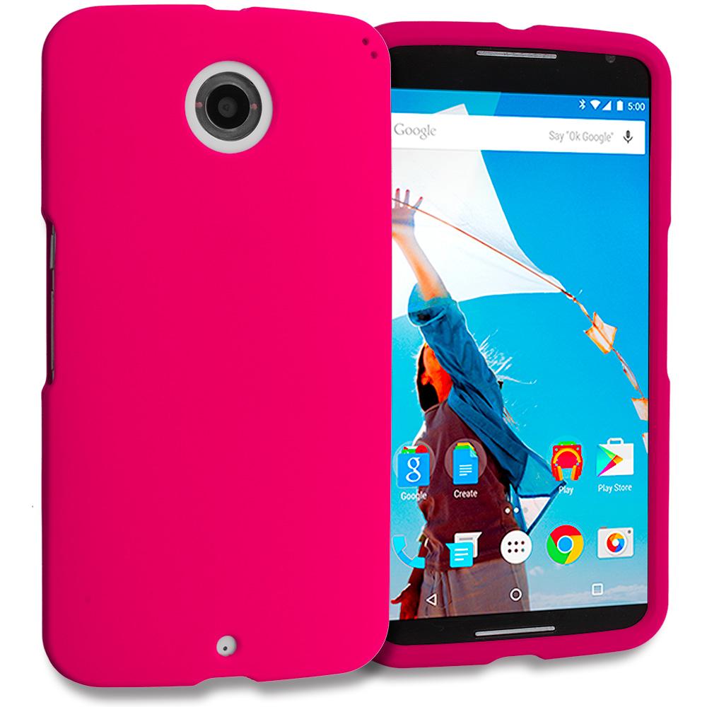Motorola Google Nexus 6 Hot Pink Hard Rubberized Case Cover