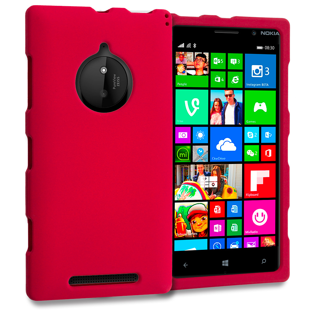 Nokia Lumia 830 Red Hard Rubberized Case Cover