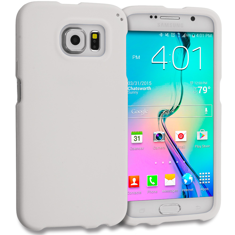 Samsung Galaxy S6 Combo Pack : Black Hard Rubberized Case Cover : Color White
