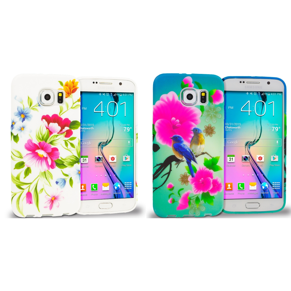 Samsung Galaxy S6 Combo Pack : Flower Painting TPU Design Soft Rubber Case Cover