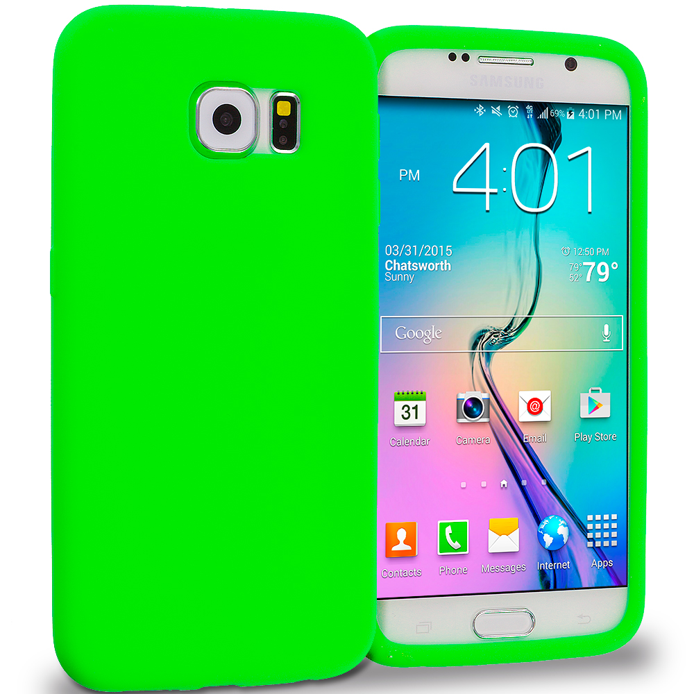 Samsung Galaxy S6 Combo Pack : Neon Green Silicone Soft Skin Rubber Case Cover : Color Neon Green