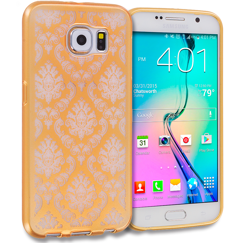 Samsung Galaxy S6 Combo Pack : Gold TPU Damask Designer Luxury Rubber Skin Case Cover : Color Gold