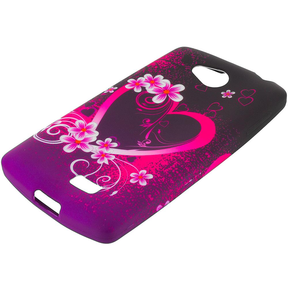 LG Transpyre Tribute F60 Purple Love TPU Design Soft Rubber Case Cover