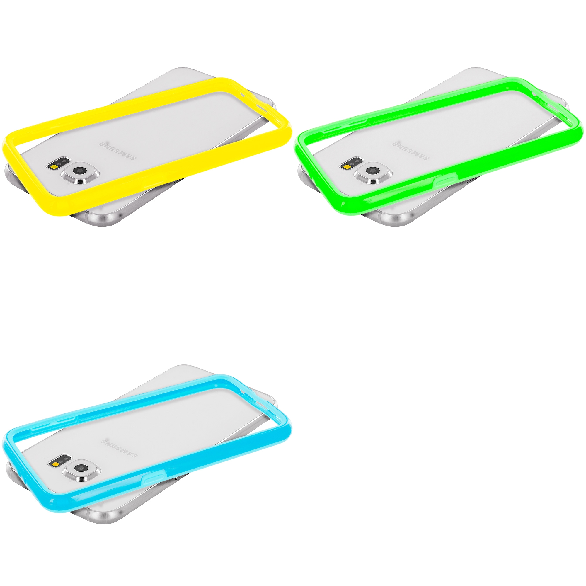 Samsung Galaxy S6 Combo Pack : Yellow TPU Bumper Frame Case Cover