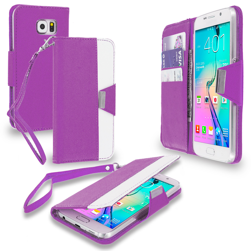 Samsung Galaxy S6 Purple Wallet Magnetic Metal Flap Case Cover With Card Slots