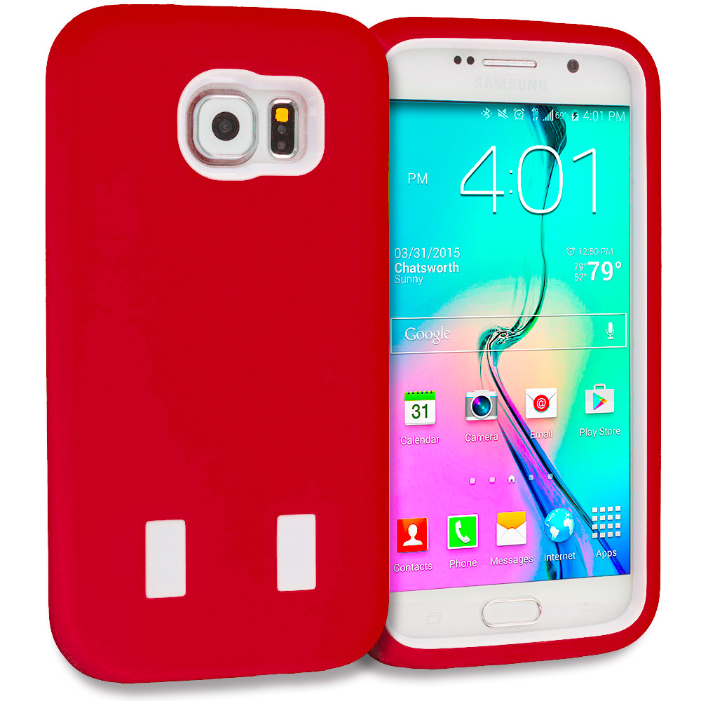 Samsung Galaxy S6 Red / White Hybrid Deluxe Hard/Soft Case Cover