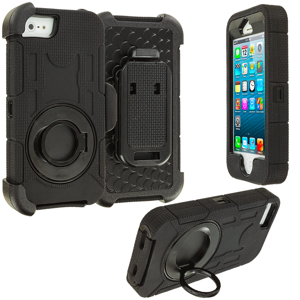 Apple iPhone 5/5S/SE Black Hybrid Heavy Duty Shockproof Armor Case Cover With Rotating Belt Clip Holster