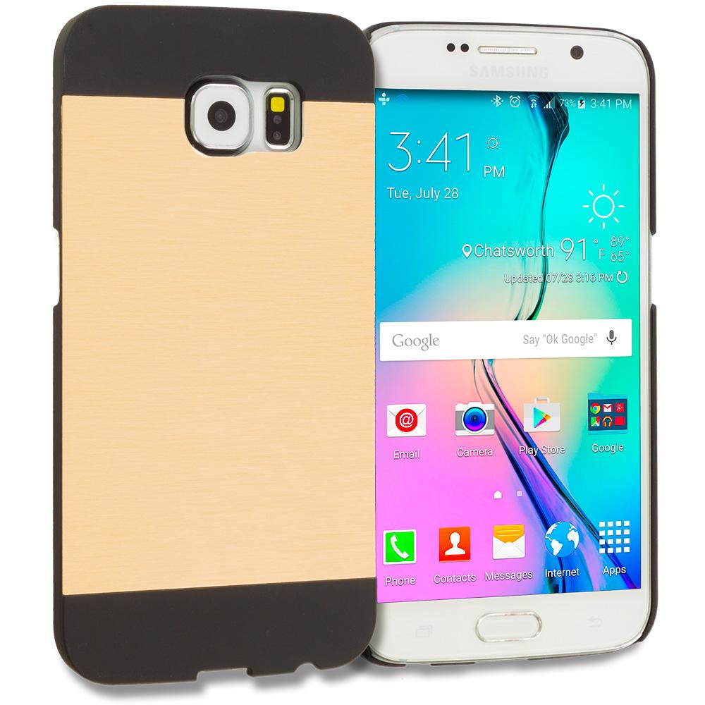 Samsung Galaxy S6 Gold / Black Hybrid Luxury Aluminum Hard Case Cover