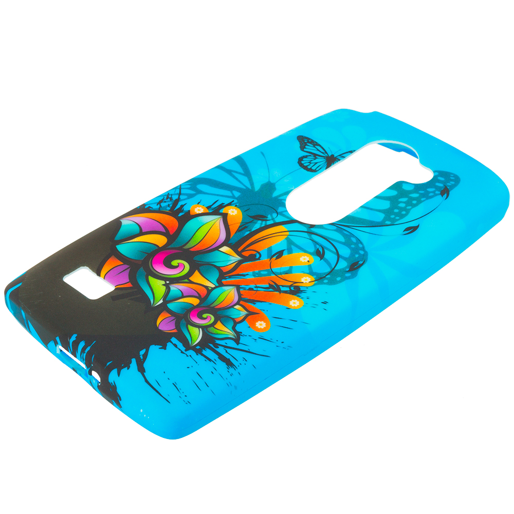 LG Tribute 2 Leon Power Destiny Blue Butterfly Flower TPU Design Soft Rubber Case Cover