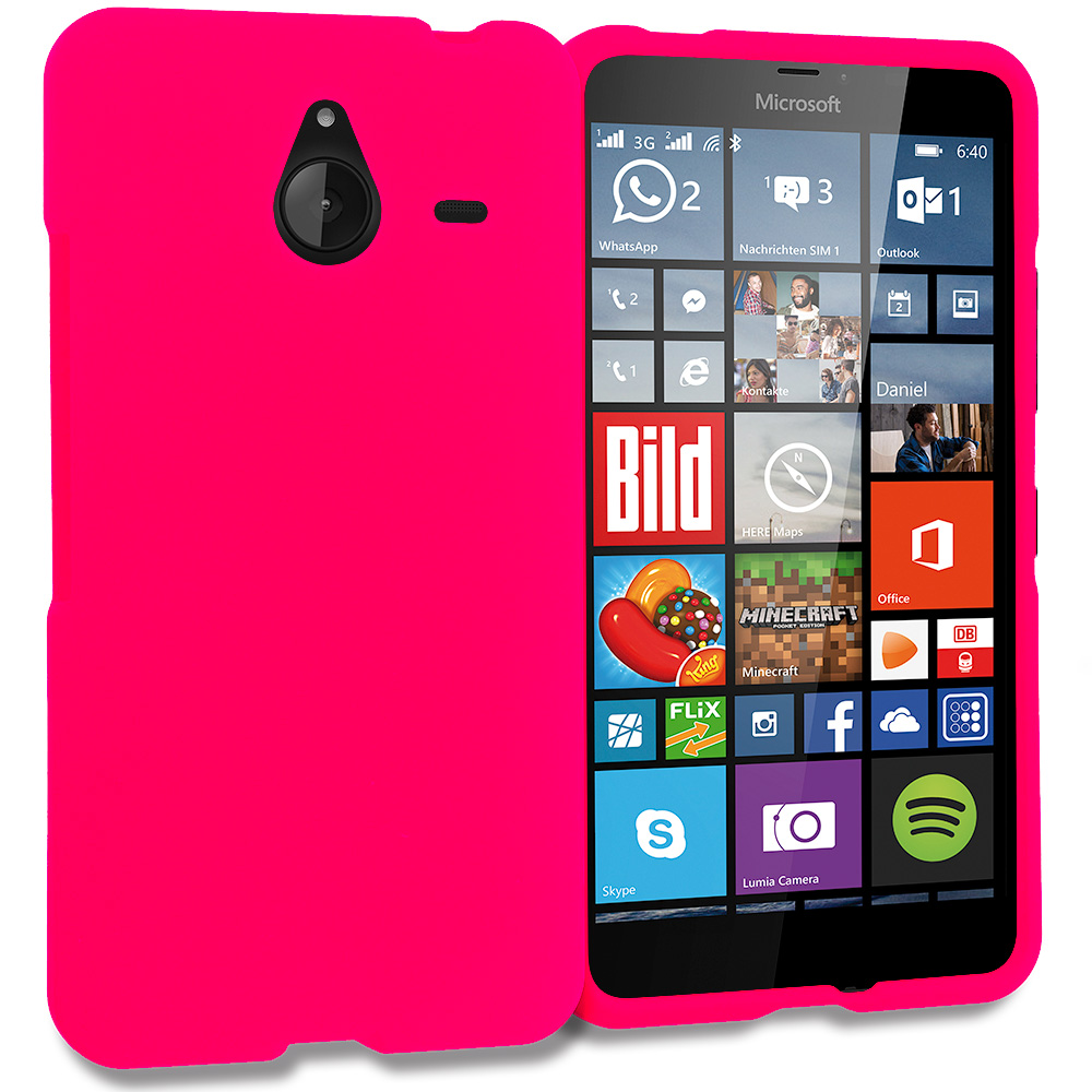 Microsoft Lumia 640 XL Hot Pink Hard Rubberized Case Cover