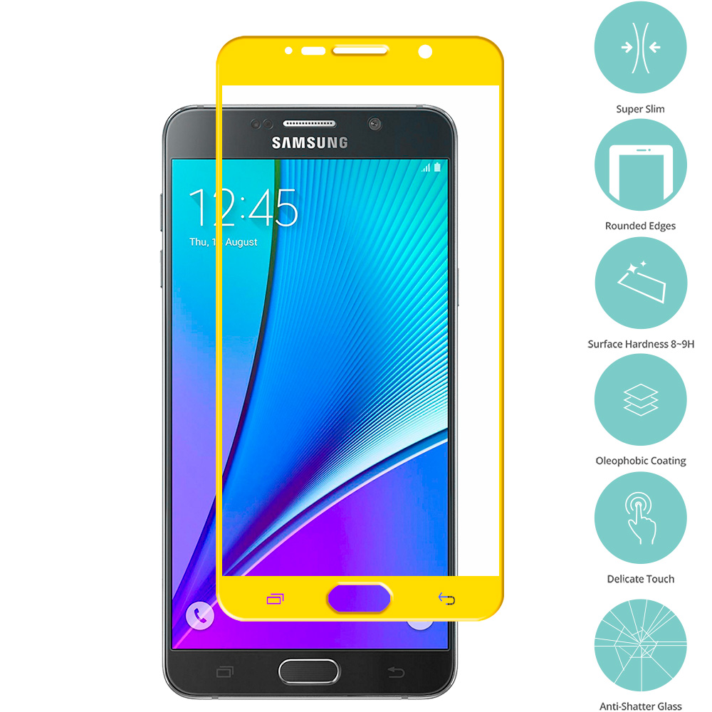 Samsung Galaxy Note 5 Yellow Tempered Glass Film Screen Protector Colored