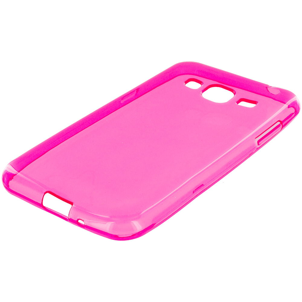 Samsung Galaxy J3 Combo Pack : Baby Blue TPU Rubber Skin Case Cover : Color Hot Pink