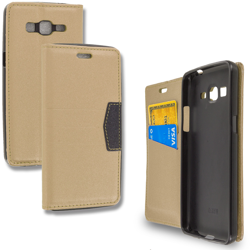 Samsung Galaxy Grand Prime LTE G530 Gold Wallet Flip Leather Pouch Case Cover with ID Card Slots