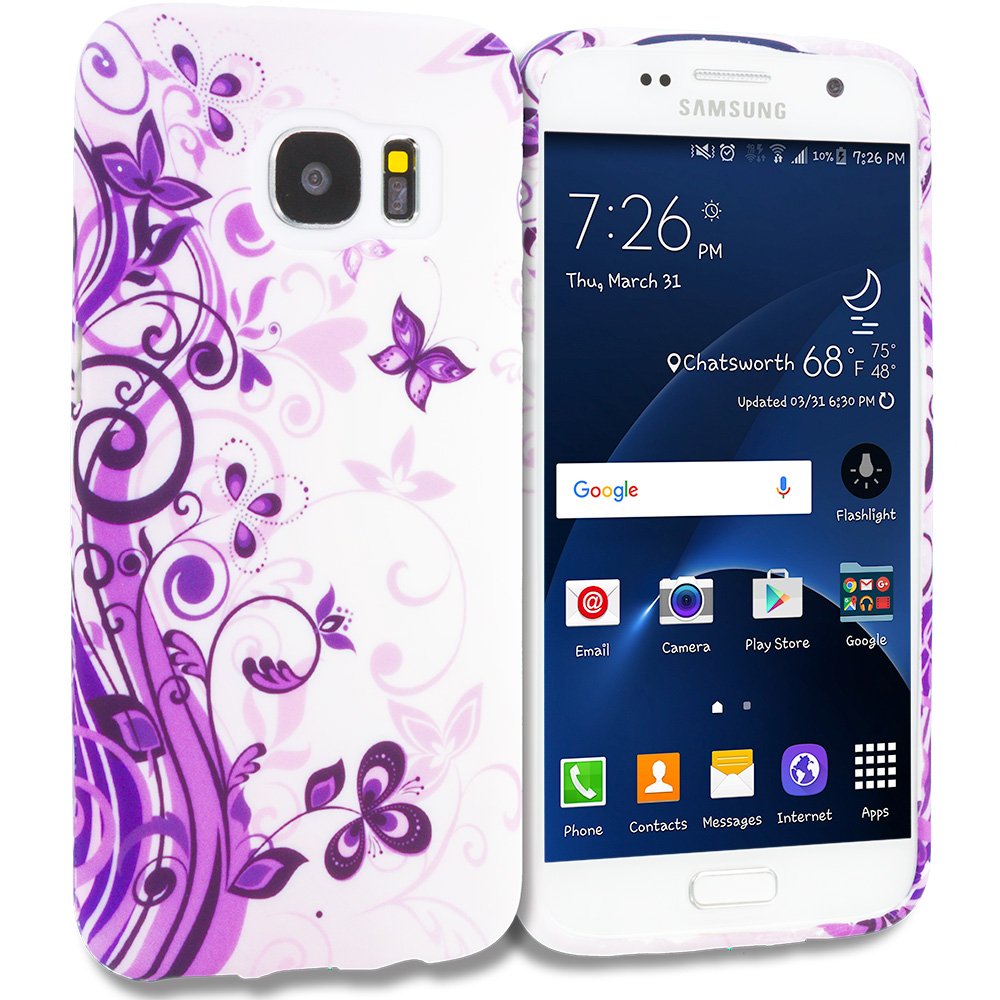 Samsung Galaxy S7 Combo Pack : Purple Flower Chain TPU Design Soft Rubber Case Cover : Color Purple Swirl