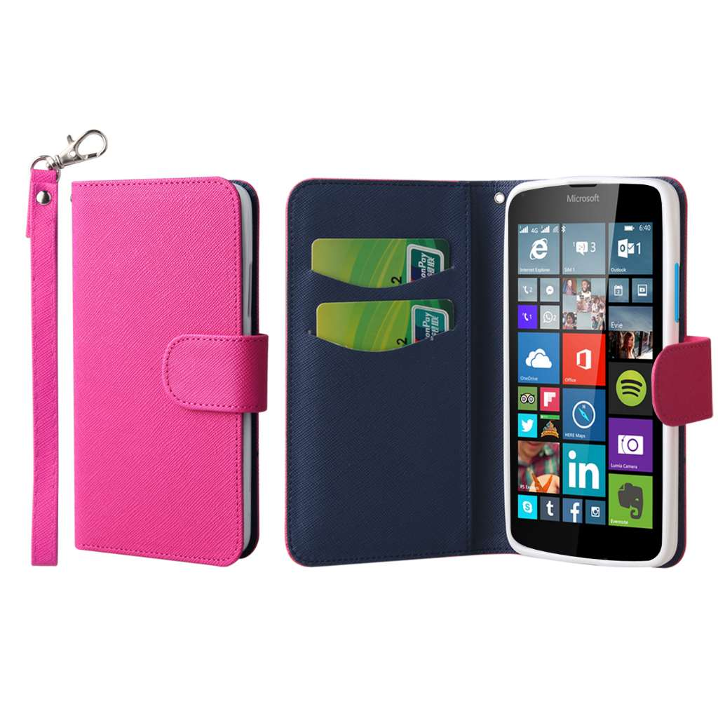 Microsoft Lumia 640 - Hot Pink MPERO FLEX FLIP Wallet Case Cover