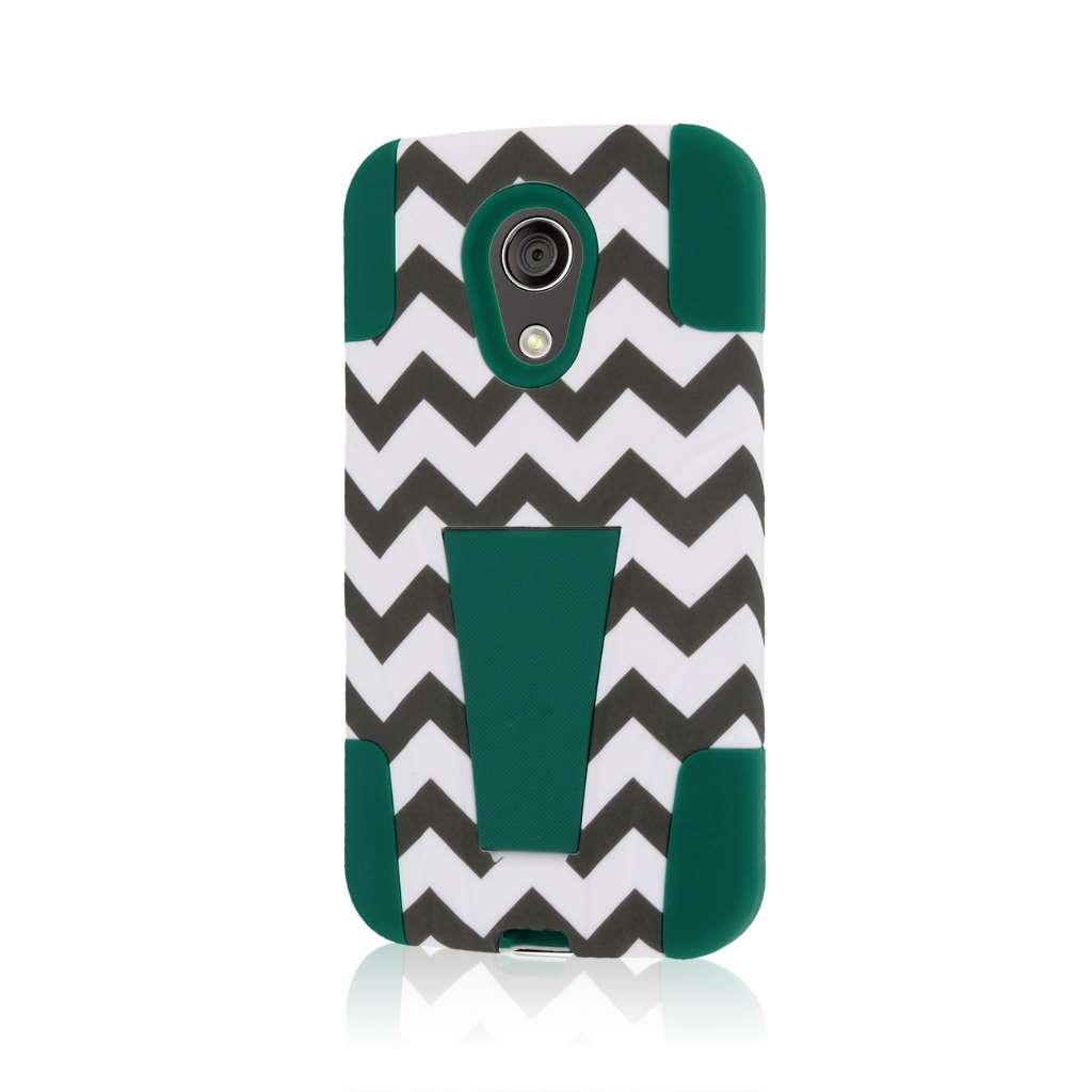 Motorola Moto G 2nd Gen 2014 - Teal Chevron MPERO IMPACT X - Kickstand Case