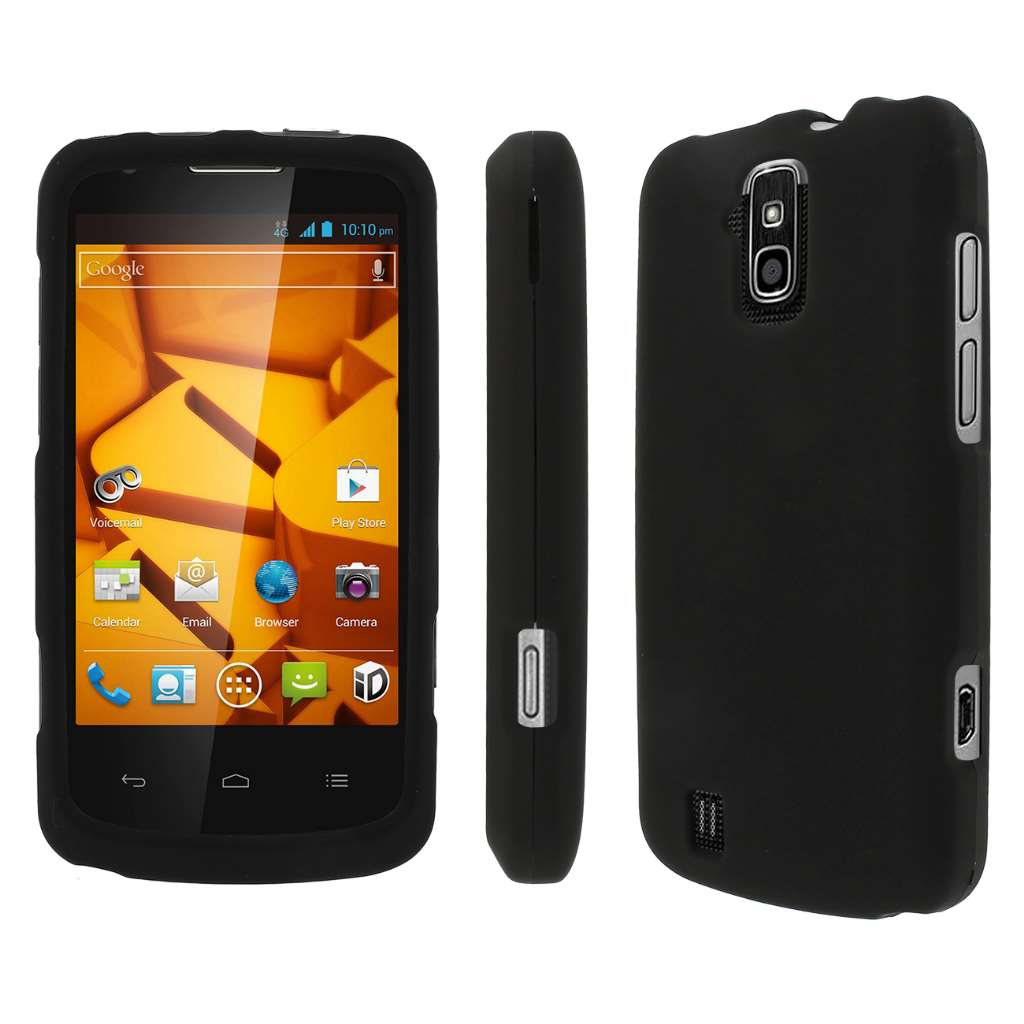 ZTE Force - Black MPERO SNAPZ - Rubberized Case Cover