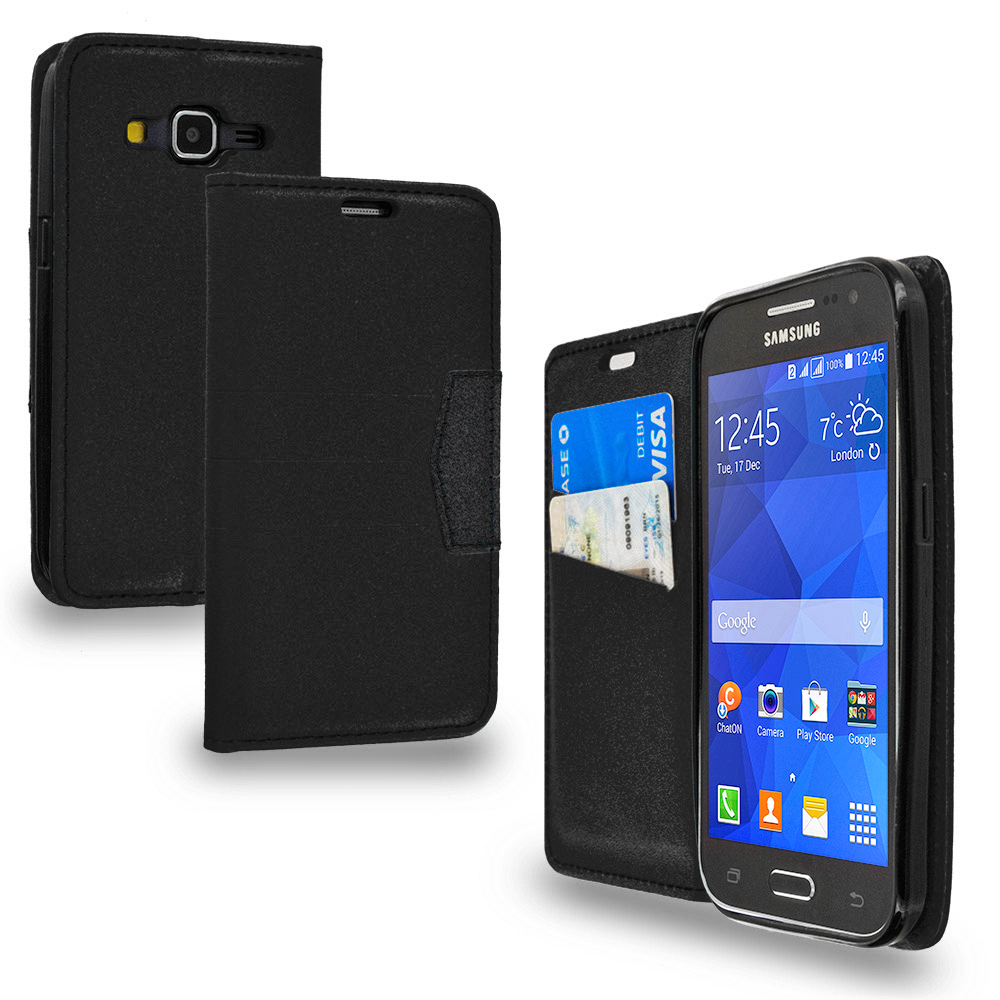 Samsung Galaxy Prevail LTE Core Prime G360P Black Wallet Flip Leather Pouch Case Cover with ID Card Slots