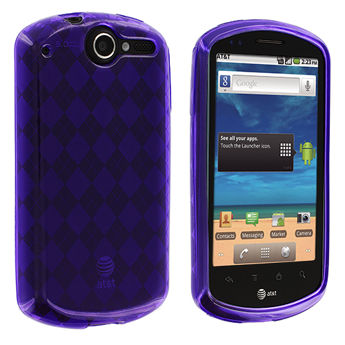 Huawei Impulse 4G U8800 Purple Checkered TPU Rubber Skin Case Cover