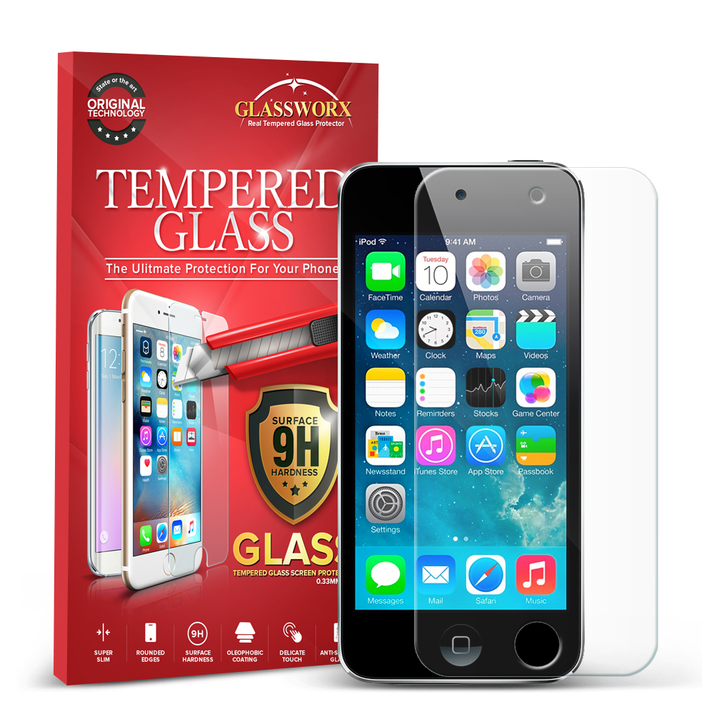 Apple iPod Touch 5th 6th Generation GlassWorX HD Clear Tempered Glass Screen Protector