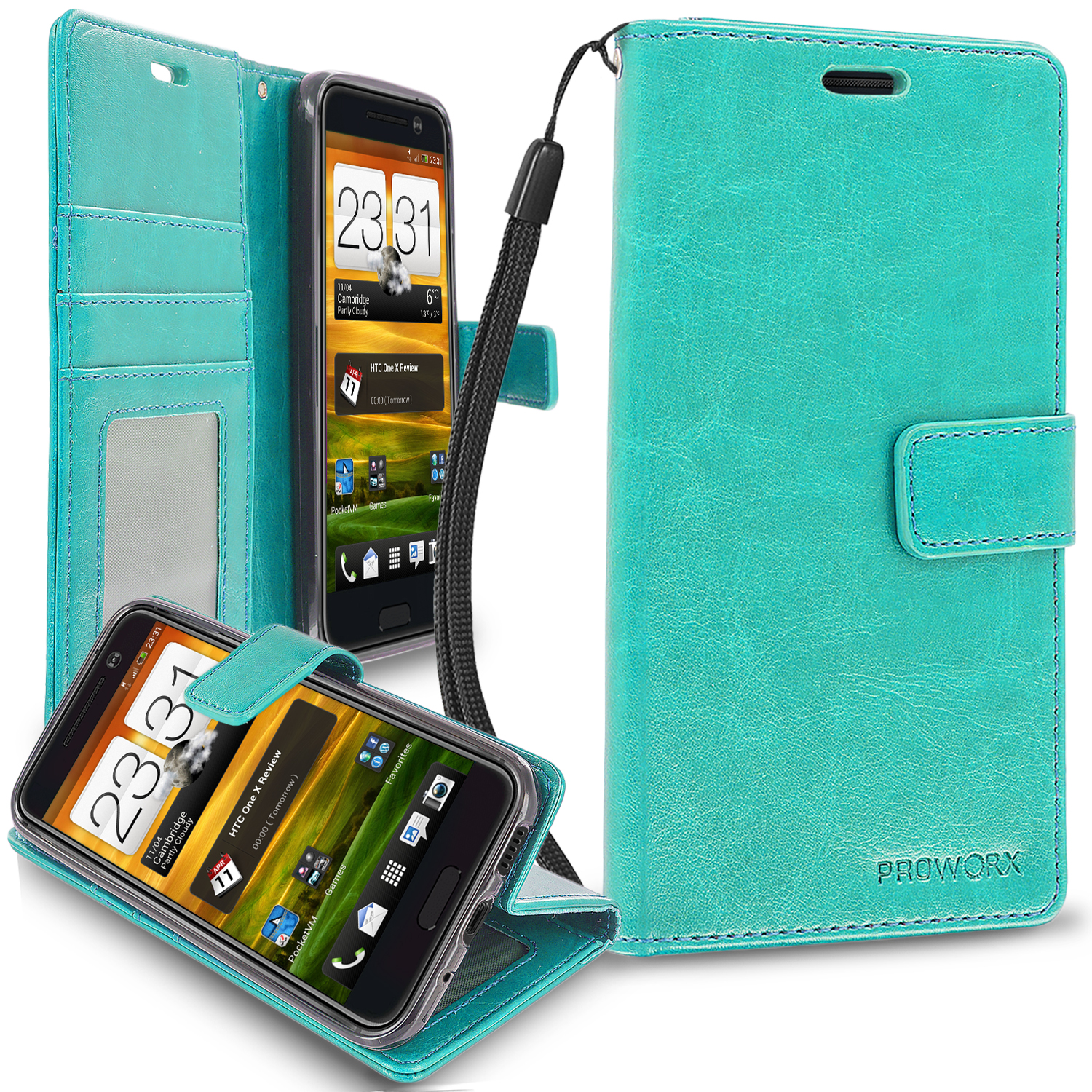 HTC One 10 M10 Mint Green ProWorx Wallet Case Luxury PU Leather Case Cover With Card Slots & Stand