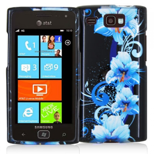 Samsung Focus Flash i677 Blue Flowers Design Crystal Hard Case Cover