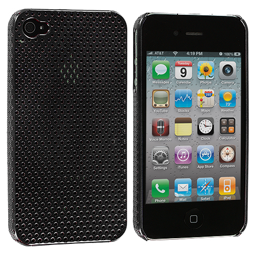 Apple iPhone 4 / 4S 2 in 1 Combo Bundle Pack - Black Silver Electroplated Mesh Case Cover : Color Black Electroplated Mesh