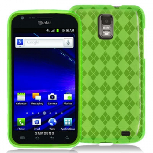 Samsung Skyrocket i727 Neon Green Checkered TPU Rubber Skin Case Cover