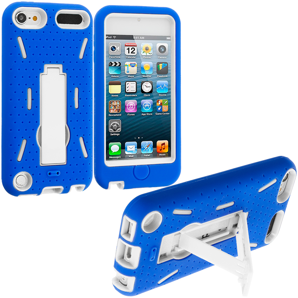 Apple iPod Touch 5th 6th Generation Blue / White Hybrid Heavy Duty Hard/Soft Case Cover with Stand