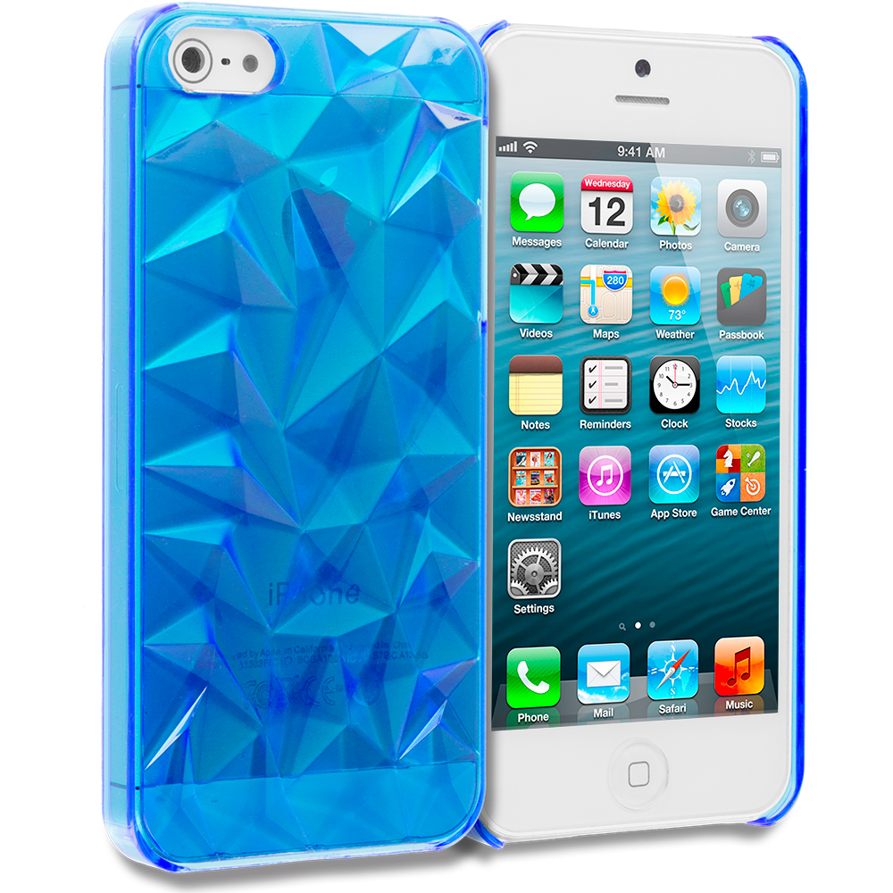 Apple iPhone 5/5S/SE 5 in 1 Combo Bundle Pack - Diamond Crystal Hard Back Cover Case : Color Blue Diamond