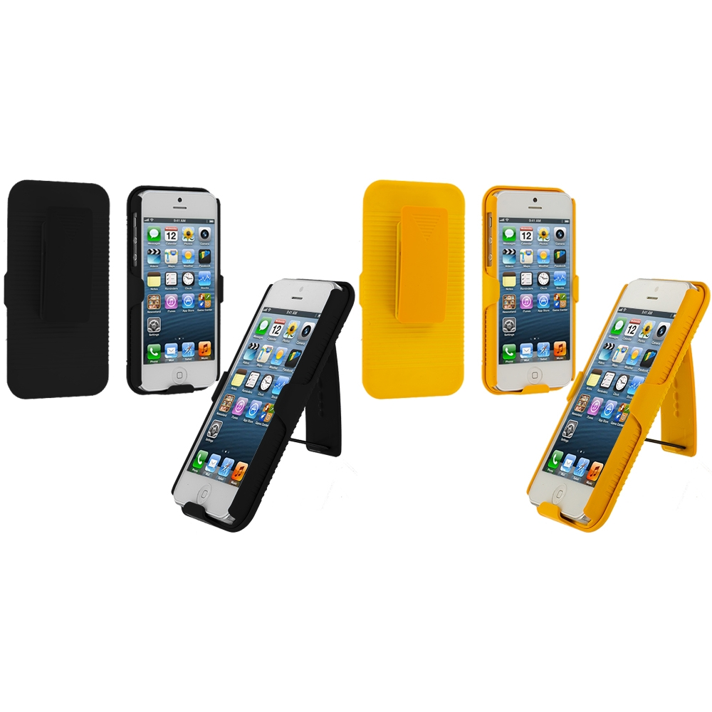 Apple iPhone 5/5S/SE Combo Pack : Black Hard Rubberized Belt Clip Holster Case Cover