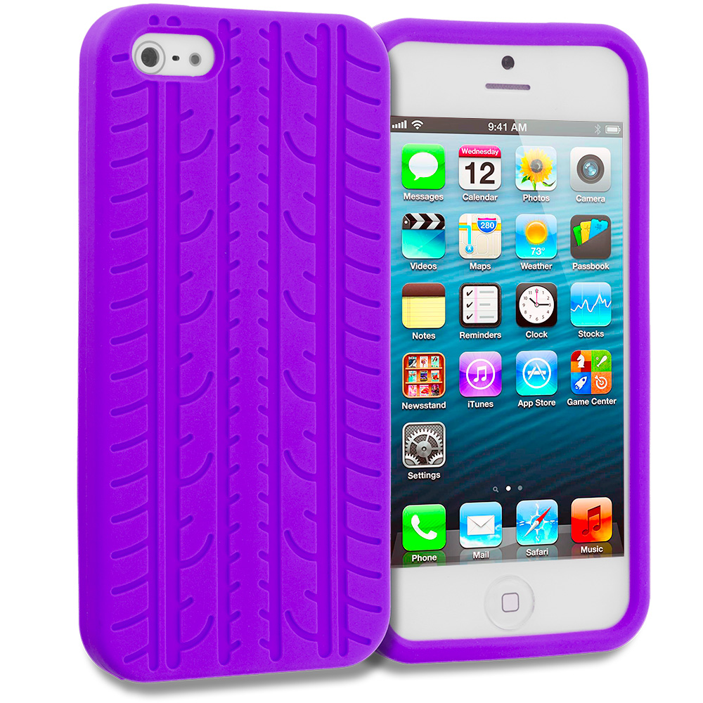 Apple iPhone 5/5S/SE Purple Tire Silicone Soft Skin Case Cover