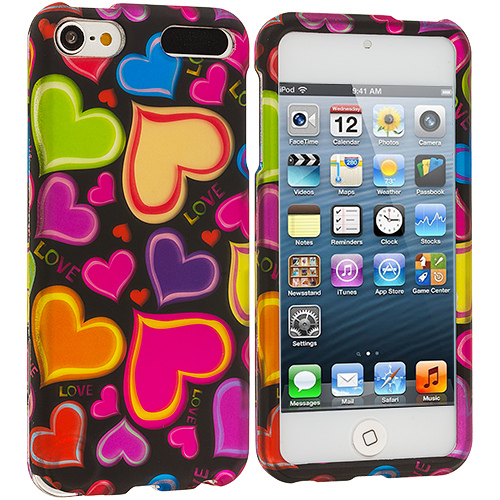 Apple iPod Touch 5th 6th Generation Colorful Hearts n Black Hard Rubberized Design Case Cover