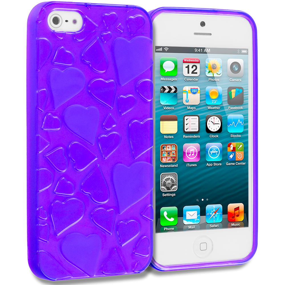 Apple iPhone 5/5S/SE Combo Pack : Blue Hearts TPU Rubber Skin Case Cover : Color Purple Hearts