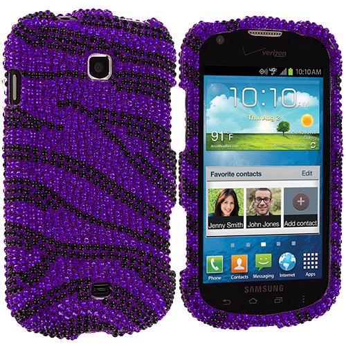 Samsung Galaxy Stellar i200 Black / Purple Zebra Bling Rhinestone Case Cover