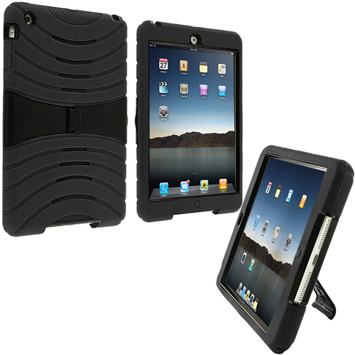 Apple iPad Mini Black Rugged Hybrid Heavy Duty Hard/Soft Case Cover with Stand