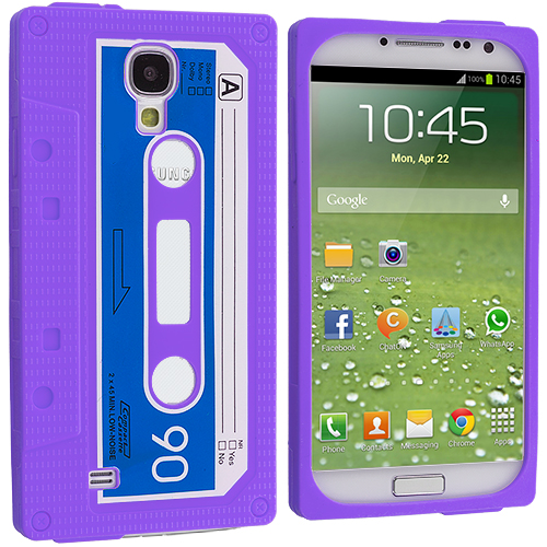 Samsung Galaxy S4 2 in 1 Combo Bundle Pack - White Purple Cassette Silicone Soft Skin Case Cover : Color Purple Cassette