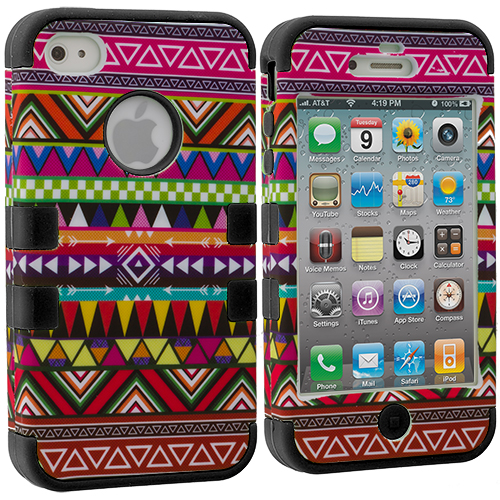 Apple iPhone 4 / 4S Black Tribal Hybrid Tuff Hard/Soft 3-Piece Case Cover