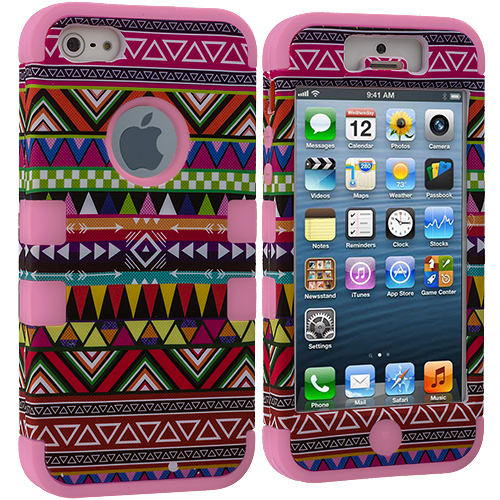 Apple iPhone 5/5S/SE Combo Pack : Pink Tribal Hybrid Tuff Hard/Soft 3-Piece Case Cover : Color Pink Tribal
