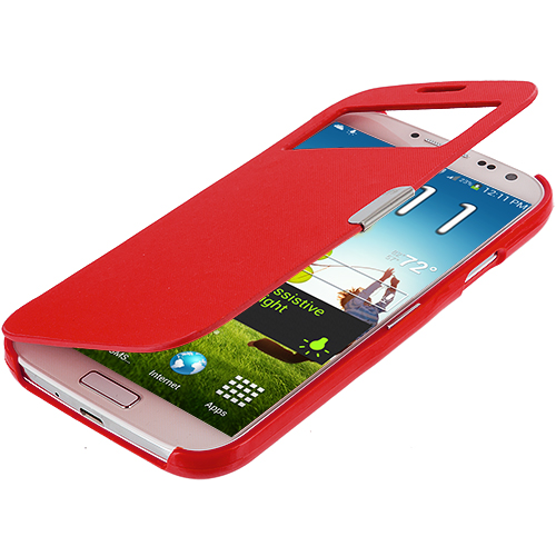 Samsung Galaxy S4 Red (Open) Smooth Magnetic Wallet Case Cover Pouch